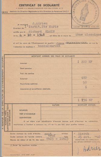 Certificat de scolarite